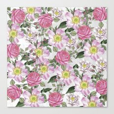Vintage Rose Pattern Pink and White Canvas Print