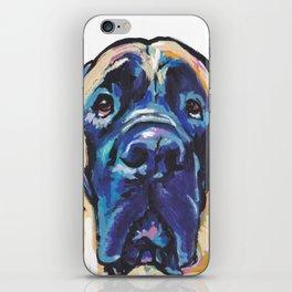 Fun ENGLISH MASTIFF Dog bright colorful Pop Art Painting by LEA iPhone Skin