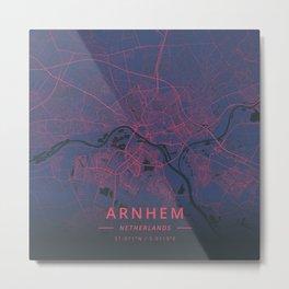 Arnhem, Netherlands - Neon Metal Print