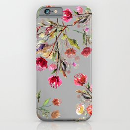 Vintage flower watercolor painted on gray background illustration pattern iPhone Case