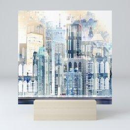 Blue City Scape Mini Art Print