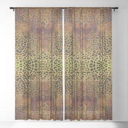 Natural Leopard Print - Dark Gold & Black Sheer Curtain