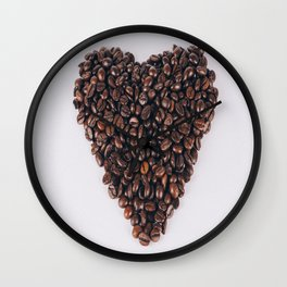 Heart of coffee beans Wall Clock