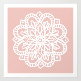 Beautiful Mandala Flower Rose Gold Art Print