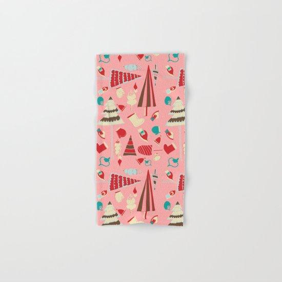 Vintage Christmas Pink Hand & Bath Towel
