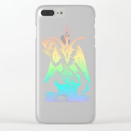 Pastel Rainbow Baphomet Clear iPhone Case