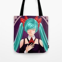 vocaloid Tote Bags featuring Miku's Serenity by Hddnjem