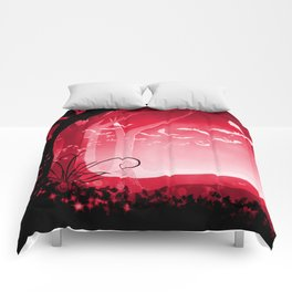 Dark Forest at Dawn in Ruby Comforters