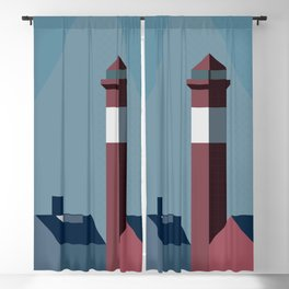 Northern landscape, minimalist illustration, nordic style, Sweden, Finland, Norway, Denmark Blackout Curtain