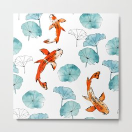 Waterlily koi Metal Print