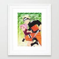 naruto Framed Art Prints featuring Naruto & Sakura by Neo Crystal Tokyo