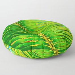 Coconut Frond in Green Aloha Floor Pillow