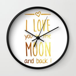 Love you to the Moon Gold Wall Clock