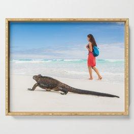 Galapagos wildlife beach Serving Tray