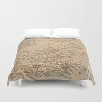 south africa Duvet Covers featuring Vintage Map of South Africa (1880) by BravuraMedia