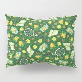 Yellow lemon and ball among tennis rackets and strawberries Pillow Sham
