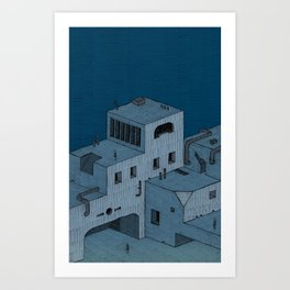 3 Tourists Find The Blue Buildings Art Print