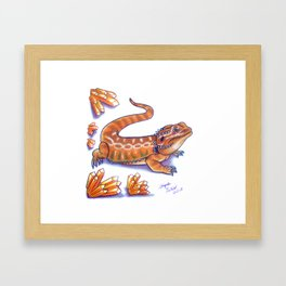 Red Bearded Dragon With Crystal Border Framed Art Print