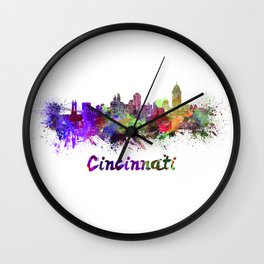 Cincinnati skyline in watercolor Wall Clock