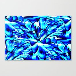 Painterly Ocean Blue Floral Abstract Canvas Print