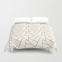Gold and White Abstract Geometric Glitter Pattern Duvet Cover