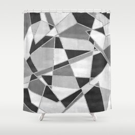 Abstract Color Block Watercolor Mosaic Shower Curtain