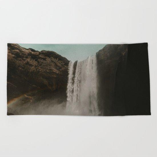 Iceland Waterfall x Skógafoss Beach Towel