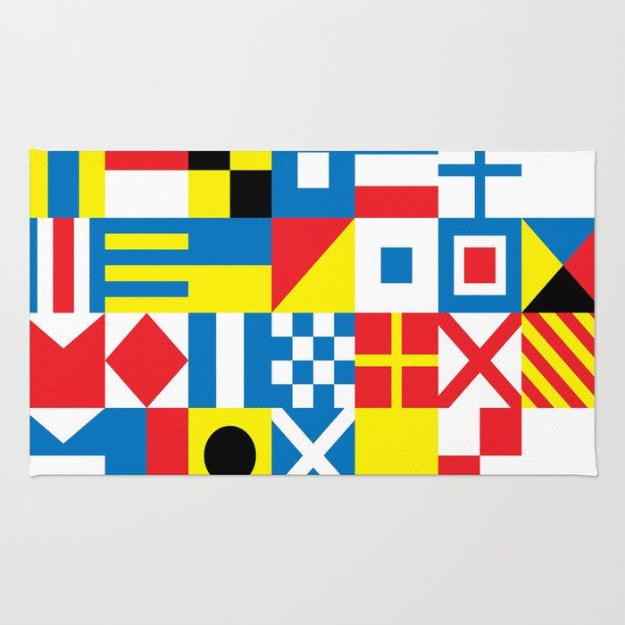 Signal Flag Rug: International Alphabetical Marine Signal Flags Rug By