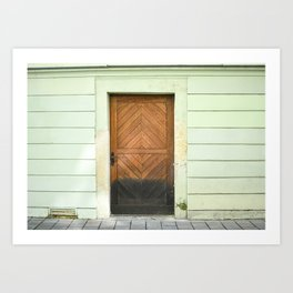 Bratislava Wooden Door | Minted Green Building, wooden door fine art travel print | saige ash studio Art Print
