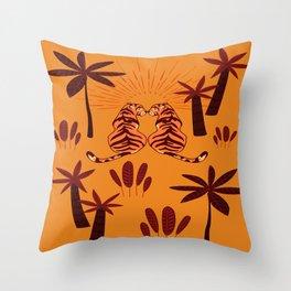 Tiger Love - Summer Sunset Throw Pillow