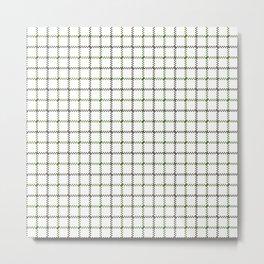 Fern Green & Sludge Grey Tattersall on White Background Metal Print
