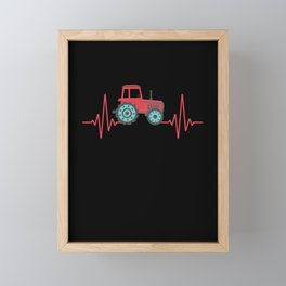 Farm Tractor Heartbeat Farming Agriculture Framed Mini Art Print