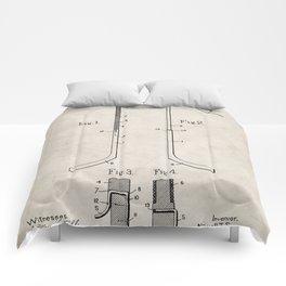 Ice Hockey Stick Patent - Ice Hockey Art - Antique Comforters