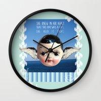 glee Wall Clocks featuring ocean glee  by Kelli May-Krenz
