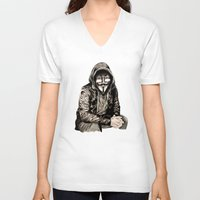 gangster V-neck T-shirts featuring Anonymous Gangster by 13 Styx