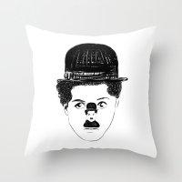 charlie chaplin Throw Pillows featuring Charlie Chaplin by creaziz