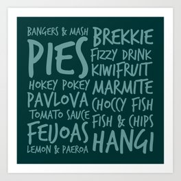 New Zealand Food - Kiwi Treats Pies, Pavlova, Kiwifruit, Marmite, Fish & Chips Art Print
