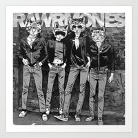 ramones Art Prints featuring RAWRMONES by Gimetzco's Damaged Goods