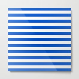 Bright blue and white stripes Metal Print