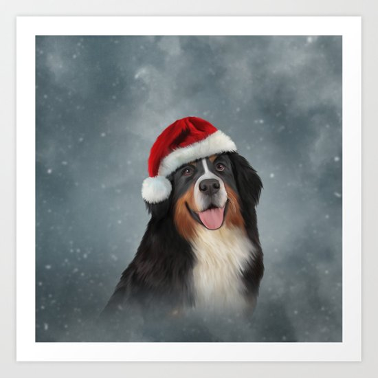 Bernese Mountain Dog in red hat of Santa Claus by bonidog