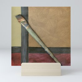 Artist Brush On Abstract Copper Canvas Artwork - Vintage - Modern Art - Corbin Henry Mini Art Print