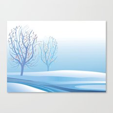 Winter Scene with Barren Trees and Stream Canvas Print