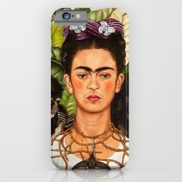 "Frida Kahlo Exhibition Art Poster - ""Self-Portrait with Thorn Necklace and Hummingbird"" 1988 iPhone Case"