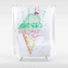 Icecream Summer love Cherry illustration ice cream cone watercolor Shower Curtain