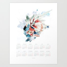CALENDAR 2018 - FLOWER POSTER ENGLISH VERSION Art Print