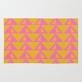 Geometric Triangle Pattern in Sunny Yellow and Neon Pink Rug