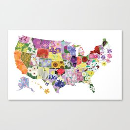 State Flower Map Canvas Print