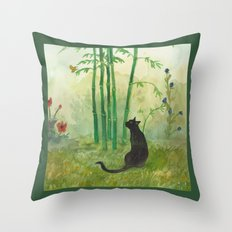 Black Cat in the Bamboo Throw Pillow