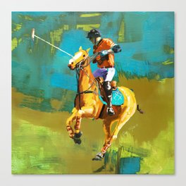 poloplayer abstract turquoise ochre Canvas Print