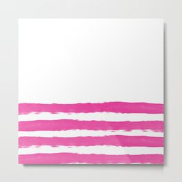 Simply hand painted pink stripes on white background -Mix and Match Metal Print